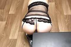 Pregnant blonde with a juicy ass in sexy lingerie fucked with dildo doggystyle.