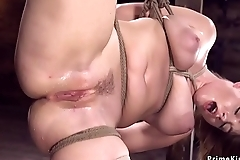 Busty suspended babe toyed and squirt