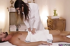 Angry busty shemale grabbed a guys big dick at massage