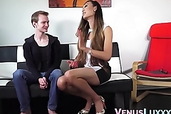 Stunning ladyboy bent over and banged by skinny guy