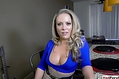 MILF stepmom blows stepson and stepsis spies on them