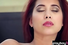 Busty redhead beauty babe shows everything she has got