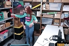 Awesome shoplifter babe with long hair gets punished