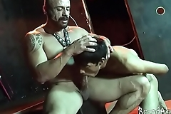 Young handcuffed sub rides a boner for a facial