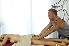 Blonde banged by masseur