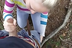 lucky guy met horny german blonde in woods and fucked her in mouth