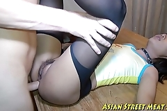 Oriental woman dribbles spunk substantiation ass-ramming