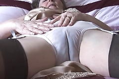 Gradual granny regarding boner added to stockings close to see thru In US breeks undresses