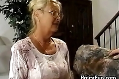 Oversexed granny riding her chubby son about decree