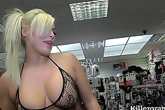 Hot tow-haired milf engulfing strangers knobs in sexual relations talking picture