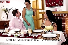 Sexy Mollycoddle Fucked by Step Dad at Family Dinner (Lucia Denvile)