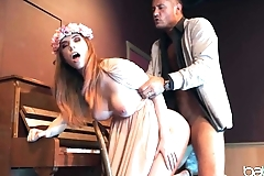 Hippie girl with fake tits copulates with professor