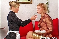 Dude gets walked around on a chain in some sexy femdom action