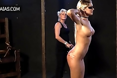 Hard whipping for blonde slut