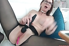 my red-haired aunt shows her new nylons in front of the camera