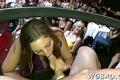 Dark stripper gets his hard wang sucked by horny chicks