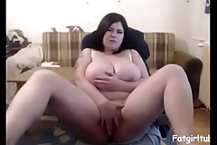 Fat girl fingering with big boobs