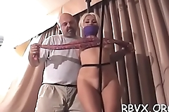 This bitch gets her tight love tunnel stimulated by ropes